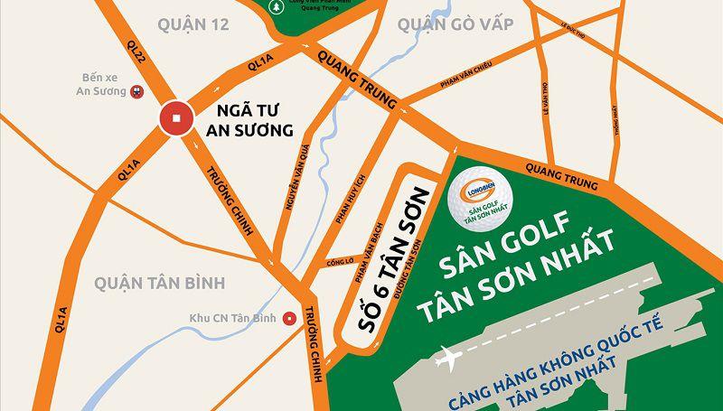 Vị trí của sân golf Tân Sơn Nhất trên bản đồ