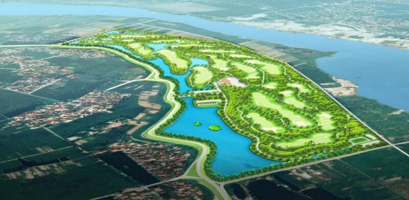 Sân golf này có quy mô diện tích lên tới gần 100 ha và nằm ngay bên bờ sông Đuống